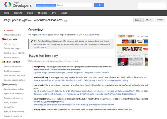 PageSpeed Insights   Bantu Perbaiki Kadar Loading Blog