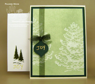 Picture of my green snowy trees Christmas card set.