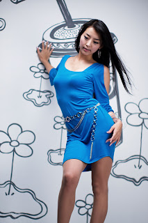 Seo You Jin Korean Sexy Model hot blue mini robe 4