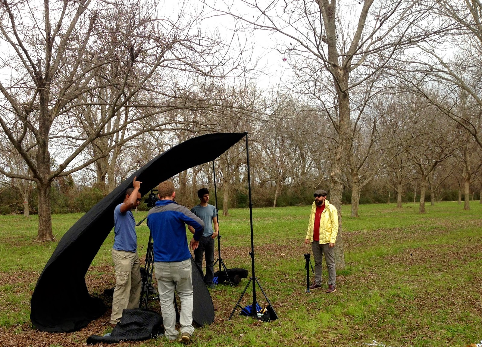 Tommy Talley helping his photography directors test the light at Inglewood Farms