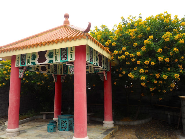 Pavilion and flowers outside Pak Tai Temple, Cheung Chau Island, Hong Kong