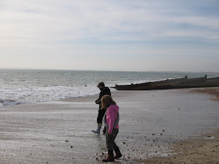 Crab hunting on Hayling Island beach