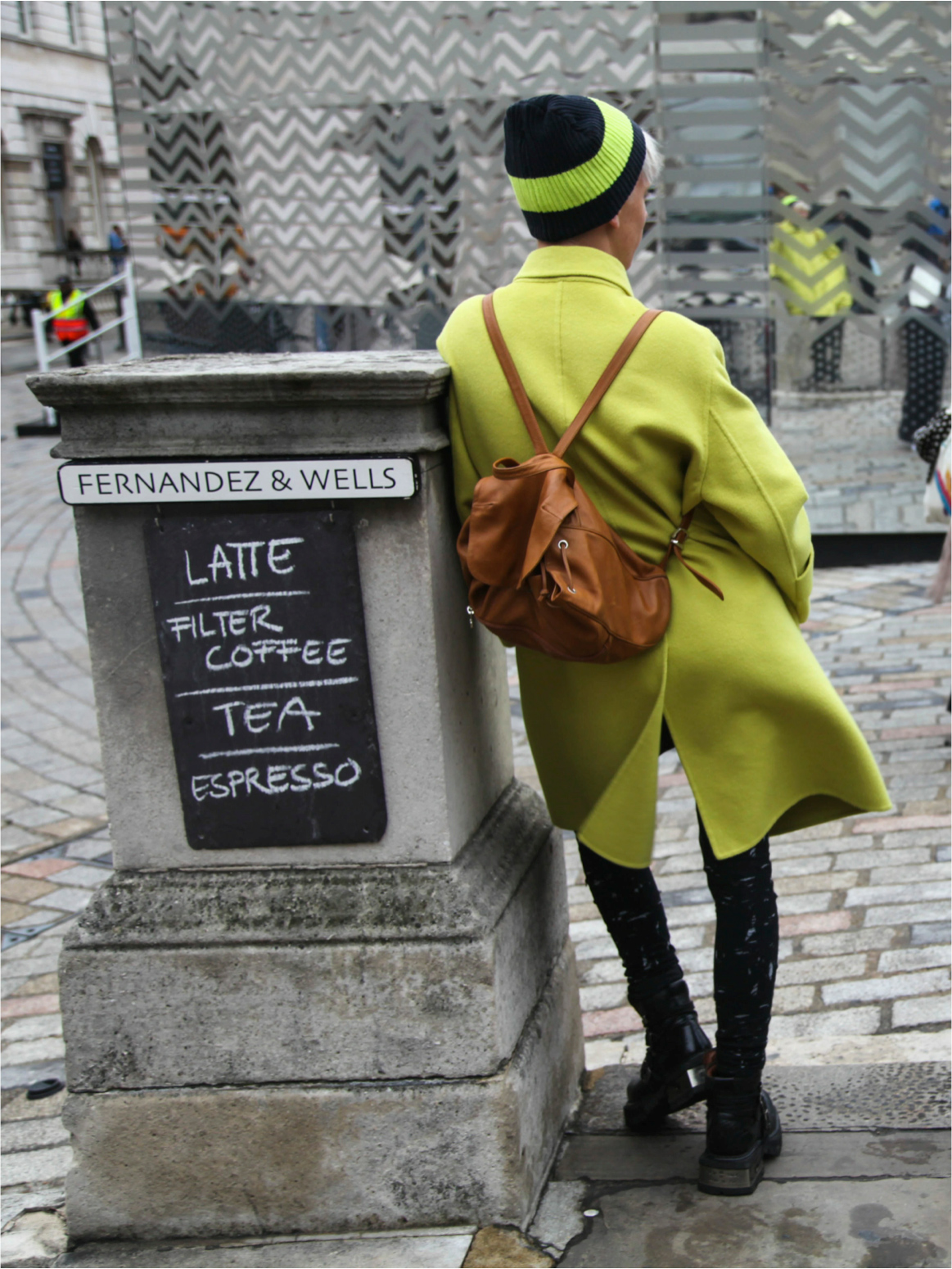 wasabi yellow wool coat London Fashion Week