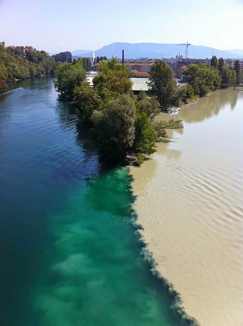 Colliding Rivers in Geneva, Switzerland