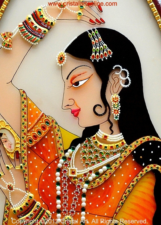 Cristal art blog rajput princess with gemstone ornamentation for How to learn glass painting at home
