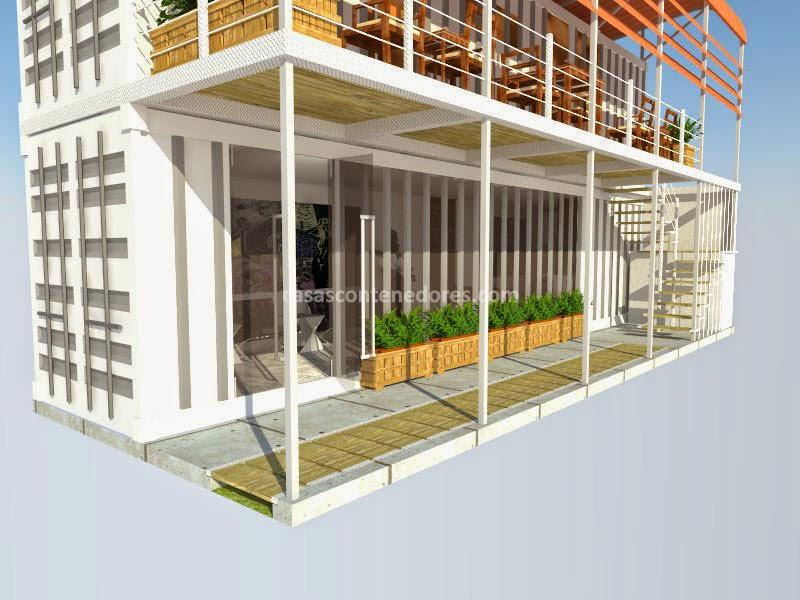 Casas contenedores casa de 2 pisos construida con 2 - Contenedores para casa ...