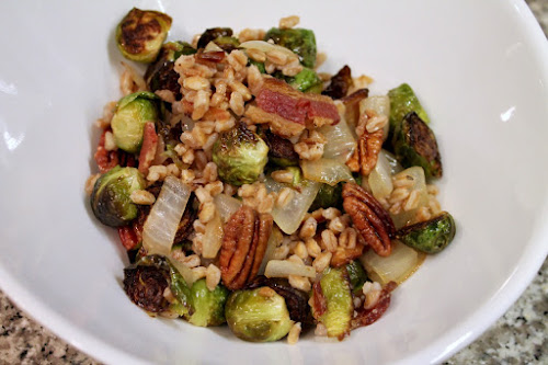 Smoky Farro, Bacon and Brussels Sprouts Bowl