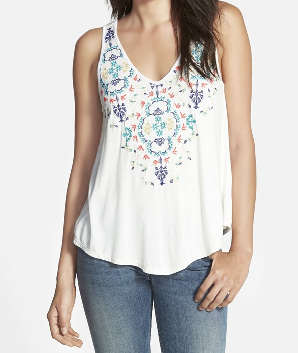 Embroidered Tank - Weekend Steals & Deals Jean Shorts Summer Fashion Outfits