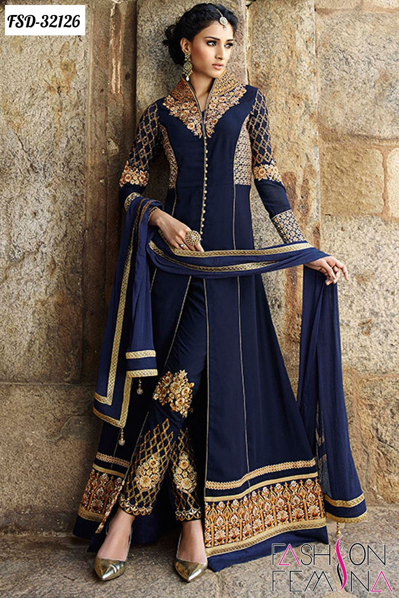 Fashion femina top ten designer party wear salwar suits for Online suit builder