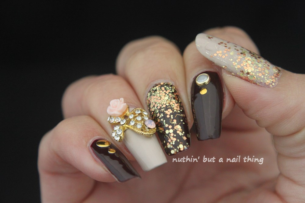 Nuthin but a nail thing gold glitter and maroon nail art bling nail art idea glitter design bling nail art idea glitter design prinsesfo Images