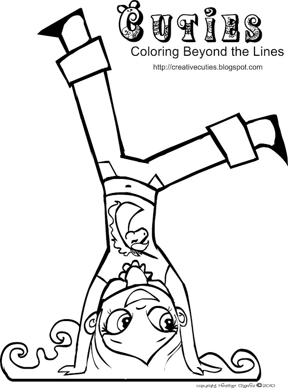 cute girl hand stand coloring page title=