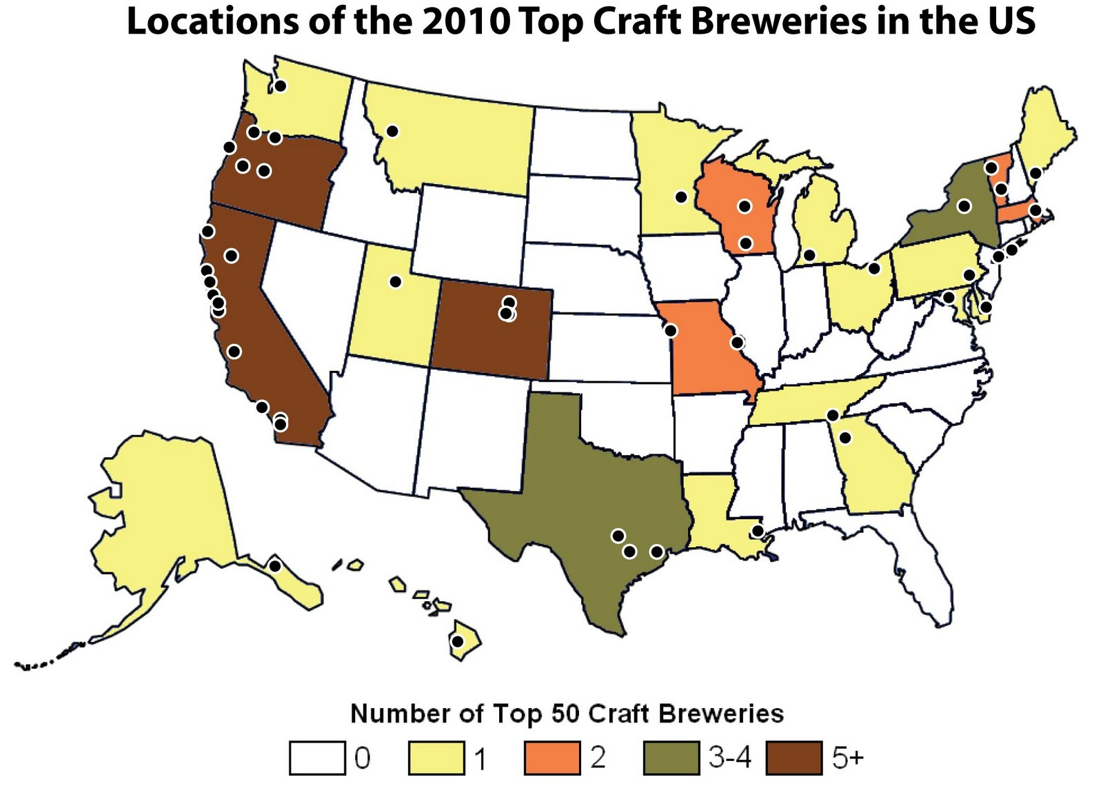 Top 50 US Craft Breweries in 2010 Where Are They Located