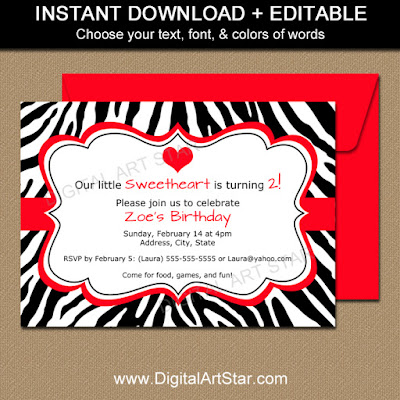Zebra birthday invitation template printable with editable text in black & white with red accents