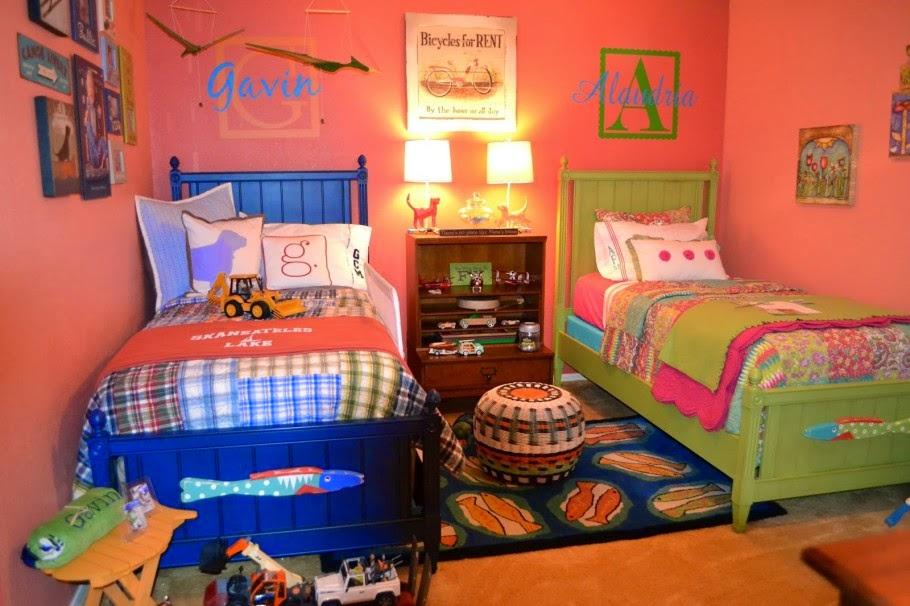 Dormitorio compartido para ni a y ni o colores en casa - Habitacion nino y nina ...