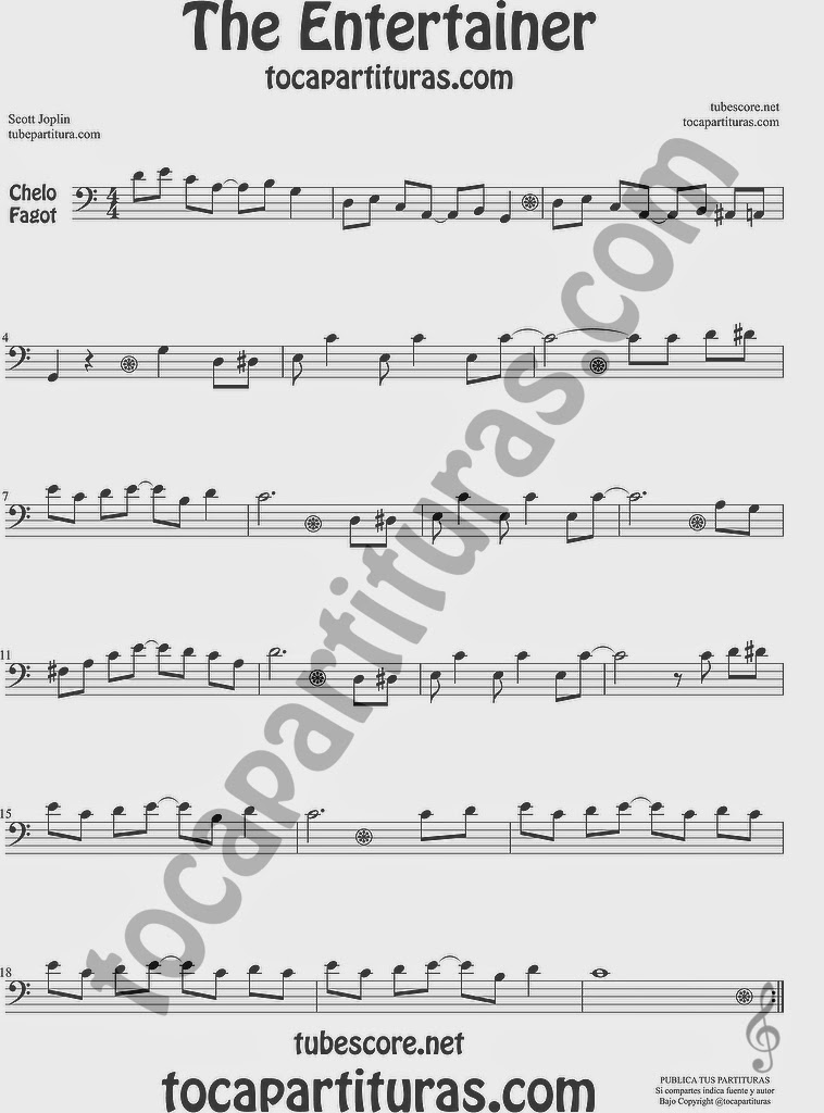 The Entertainer Partitura de Violonchelo y Fagot Sheet Music for Cello and Bassoon Music Scores