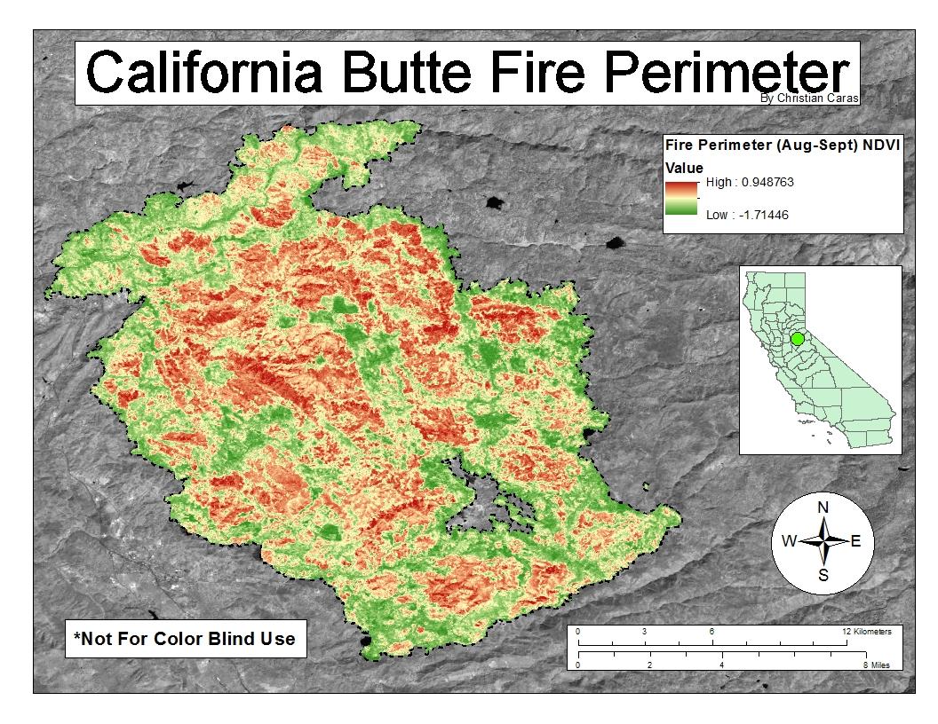 california butte fire perimeter ndvi