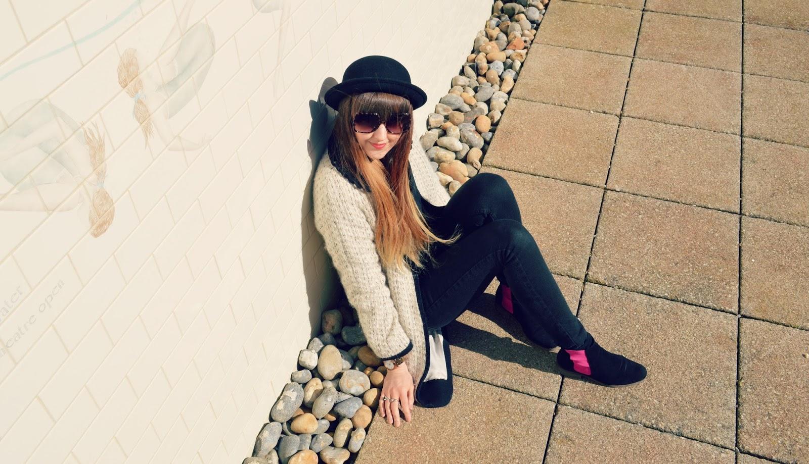 topshop coat, chelsea ankle boots, bowler hat