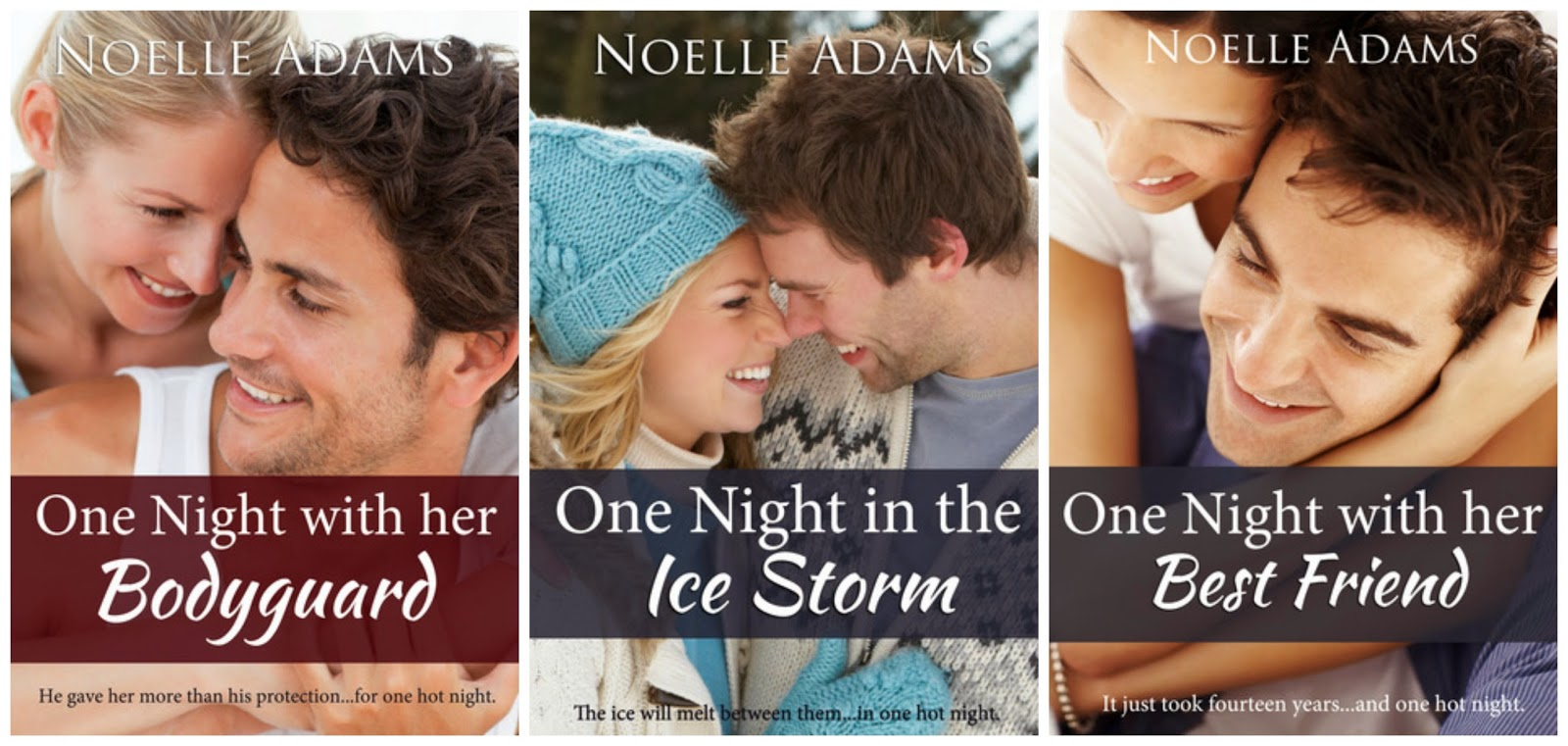 Book covers - One Night novellas by Noelle Adams
