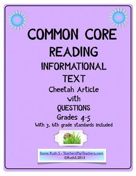 photo of Common Core ELA Informational Text (cheetah), pdf, Ruth S., TeachersPayTeachers.com