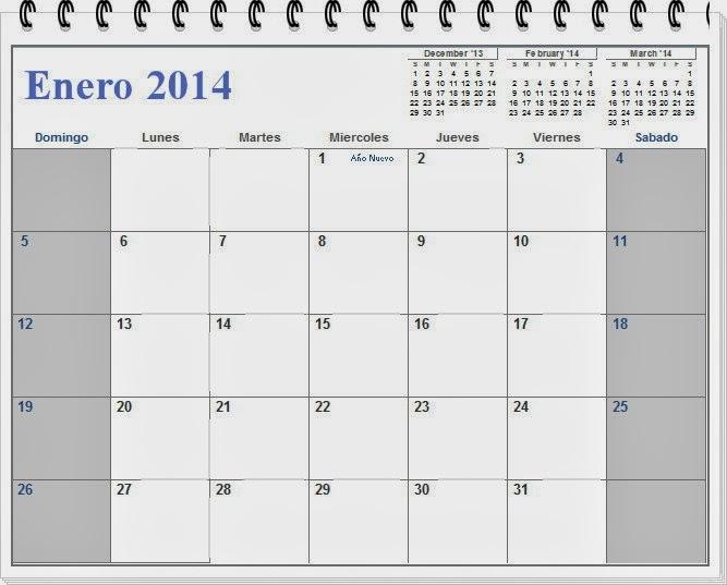 Calendario del mes de enero 2014 para imprimir