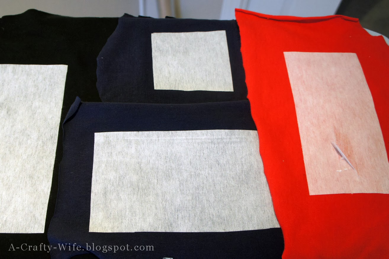Fusible interfacing ironed onto wrong sides of tshirts | A Crafty Wife