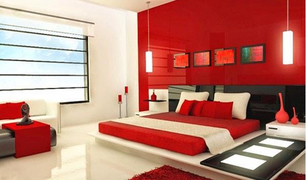 Deco chambre interieur d coration chambre en rouge - Chambre a coucher rouge ...