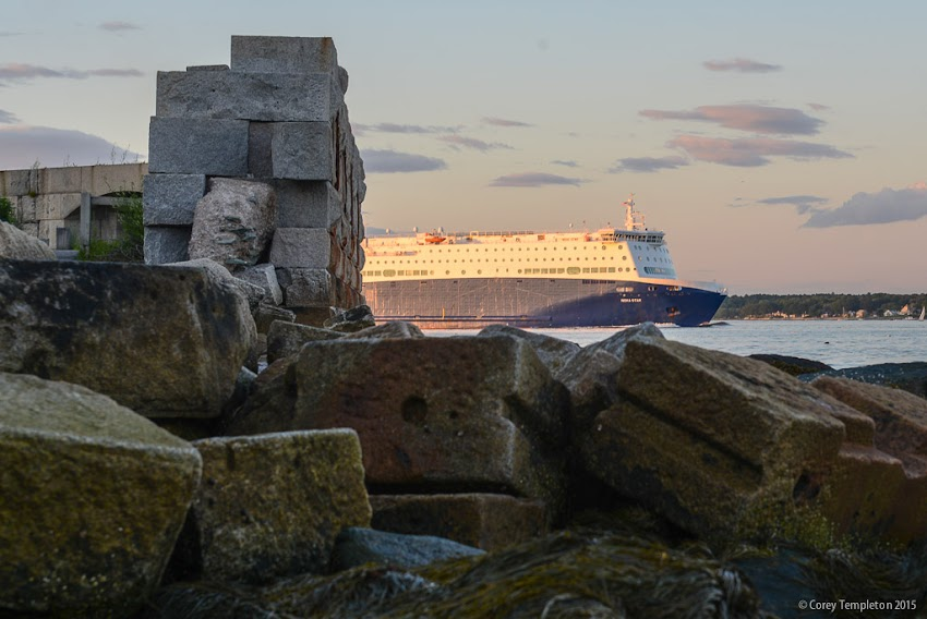 July 2015 South Portland, Maine USA The Nova Star cruises ferry going past Fort Preble. Photo by Corey Templeton.