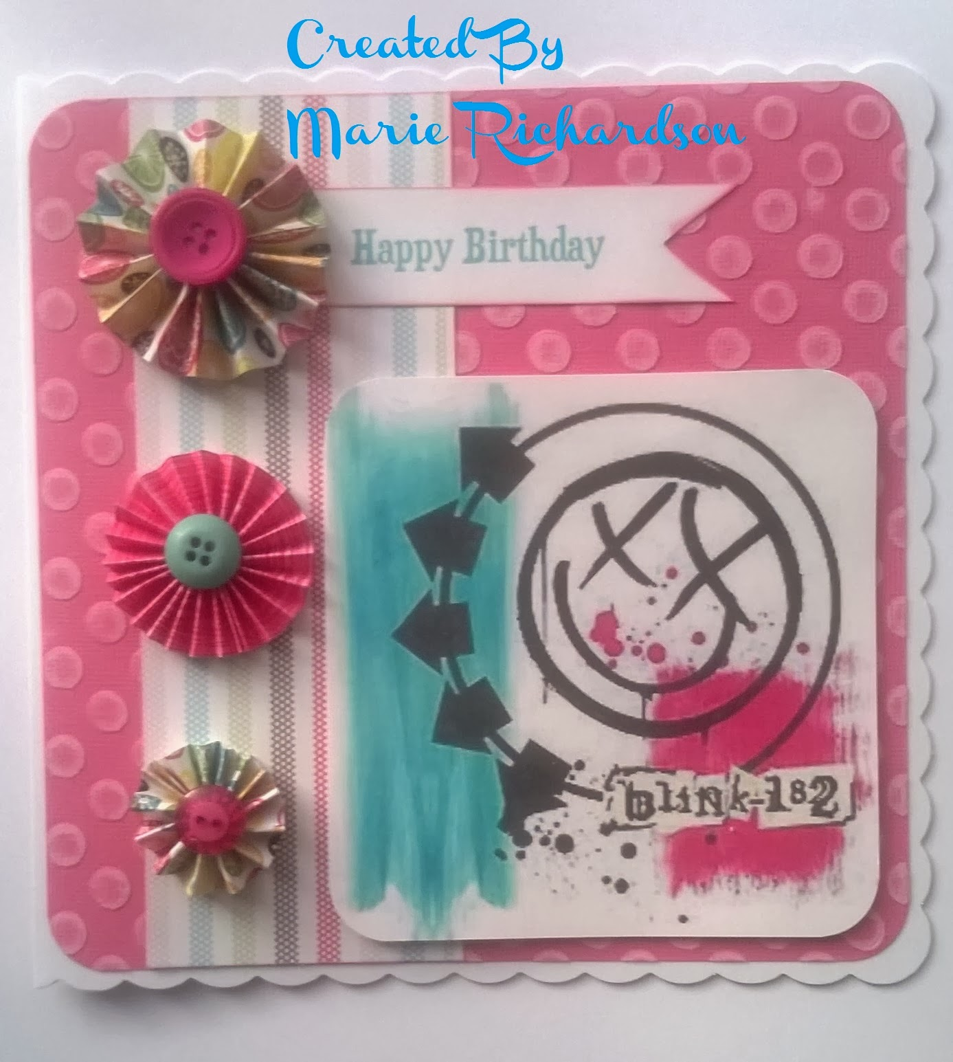 Simply me blink 182 birthday card deciding what card design to do for her i also wanted to make it a bit girly but not use flowers so i decided on using pinwheels which i made myself bookmarktalkfo Image collections