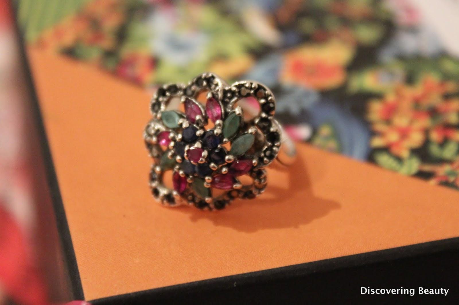 silver ring semi-precious gem stones