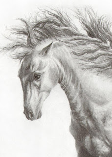horse aceo, equine drawings, horse gifts