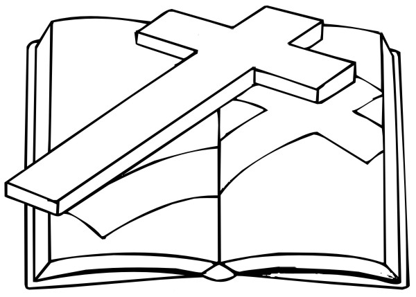 Coloring Pages - Cross and Bible title=