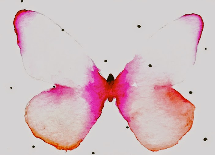 A watercolor butterfly saturated in pinks and oranges.