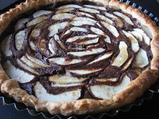 Tarta de chocolate y manzana