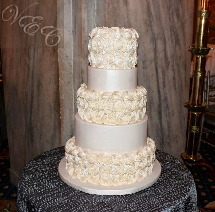 Van Earls Cakes White Pearl Buttercream Rosette Wedding Cake
