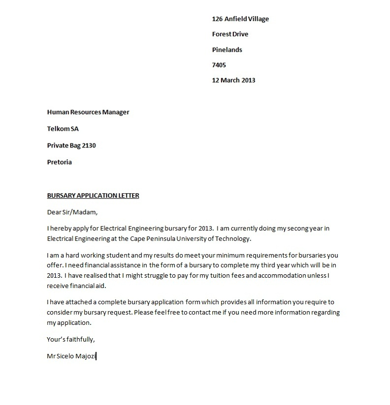 an application letter for a bursary