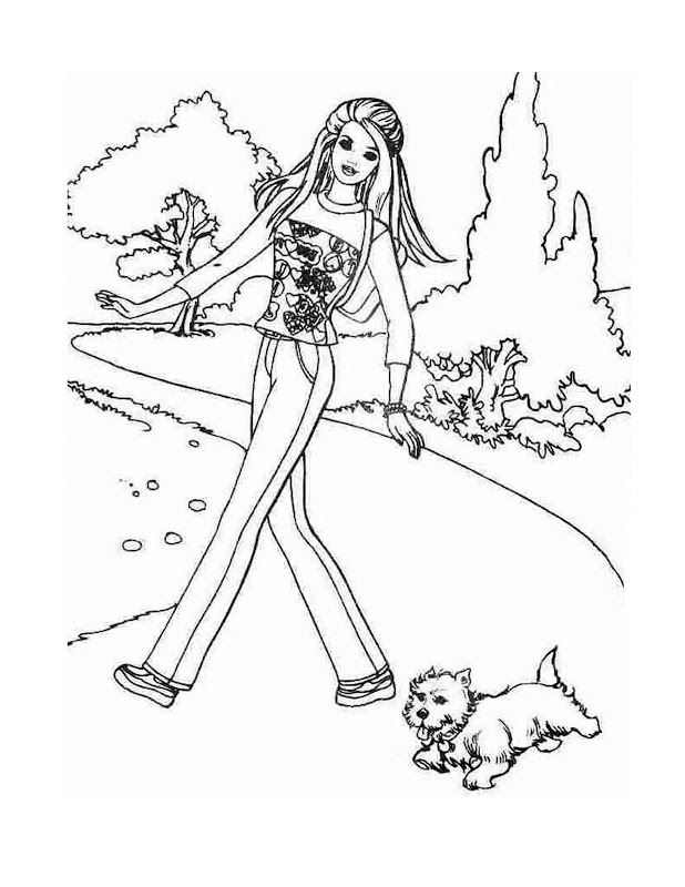 New Princess Disney Coloring Pages : Barbie Walking With Dog. title=