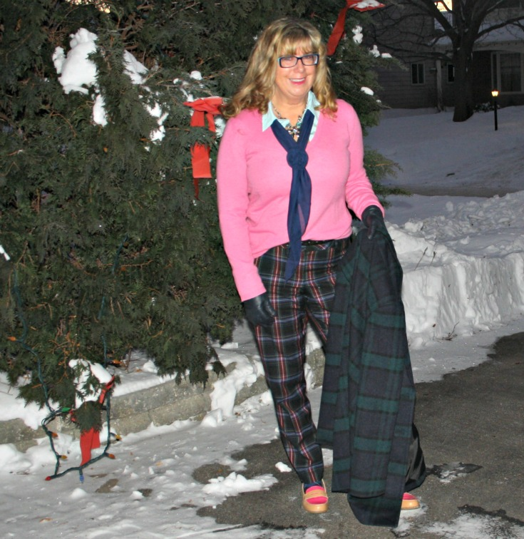 Target plaid pants with a pink cashmere sweater  and tommy loafers 5