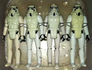 "Vintage Stormtrooper Gentle Giant Kenner 12"" Bootleg Black Hole Trooper Chinese Super 7 Legacy Saga TAC 30th Anniversary Collection Vintage Original Restoration Yellowed Whitening 3.75"" HONG KONG CHINA MEXICO GLASSLITE restoration"