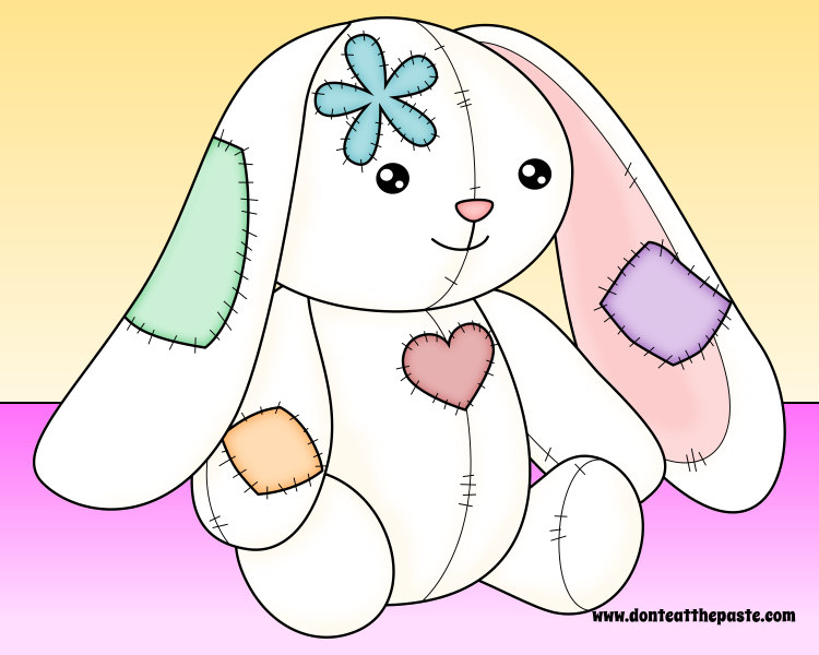 Patchwork bunny- blank available for coloring!