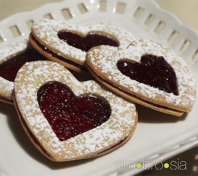 ambrosia: Shortbread Hearts with Raspberry Jam