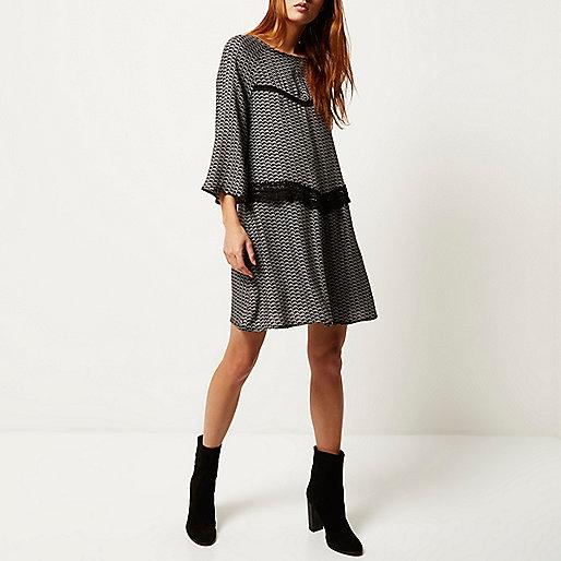 river island smock dress, overlay swing dress, black edged dress,