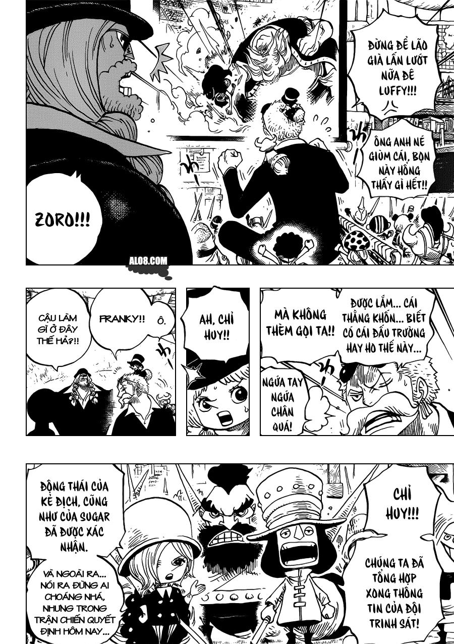 One Piece Chapter 718: Những chiến binh hoàng gia Riku ở cánh đồng hoa 008