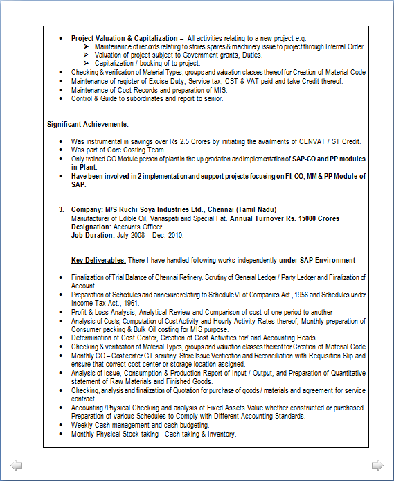 Professional   Experienced Chartered Accountant Resume Sample
