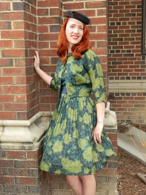 1950s L'aiglon dress matching bolero fur hat Just Peachy, Darling