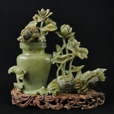 Chinese jade vase and Flowers