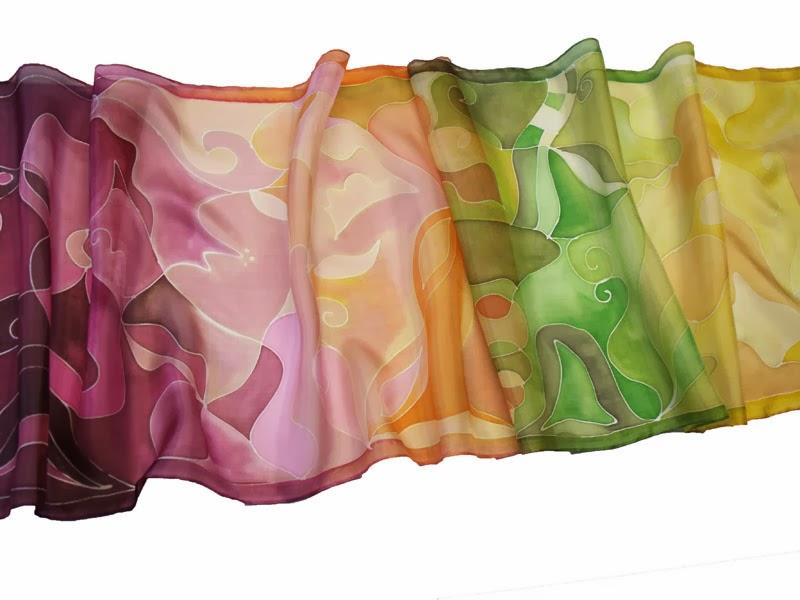 Kézzel festett színátmenetes áldás selyem sálak.