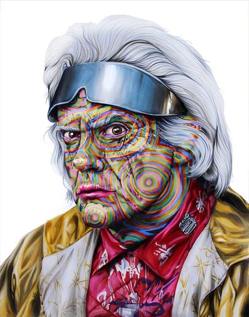 04-Christopher-Lloyd-Doc-Brown-Back-to-the-Future-Joshua-Roman-Rainbow-Portraits-Drawings-Illustrations-www-designstack-co