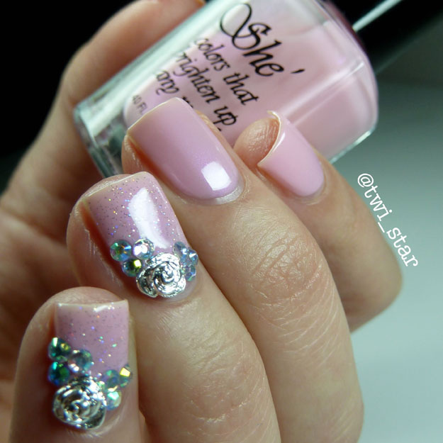 She Nail Polish Passionate Pink polish swatch Born Pretty Store rose nail charms