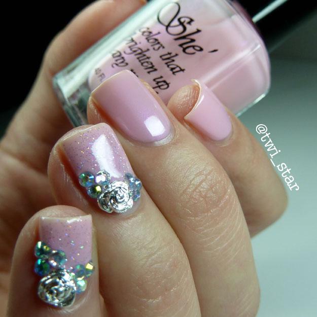 She Nail Polish Passionate Pink polish swatch Born Pretty Store rose nail charms