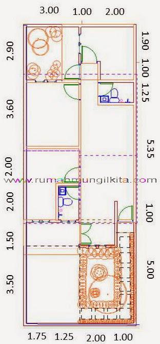 Renovasi rumah tipe 48 tanah 93 lebar 6 m - Denah rumah 2 dimensi setelah direnovasi